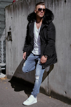 Men's Winter Parka Jacket Black 7132
