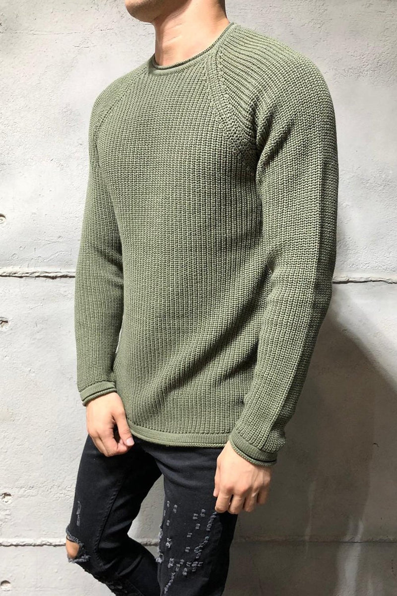 Men's Knit Sweater Pullover Green/Military 7019