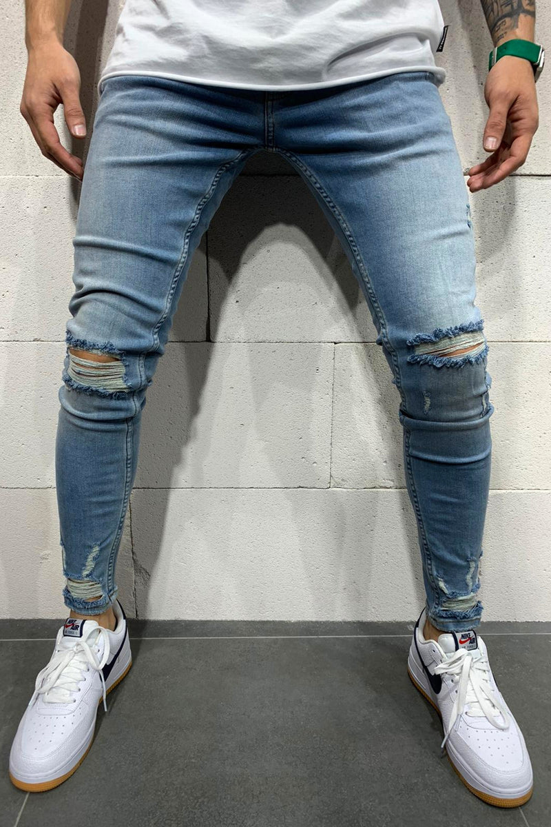 Men's Denim Jeans Destroyed Blue B4683