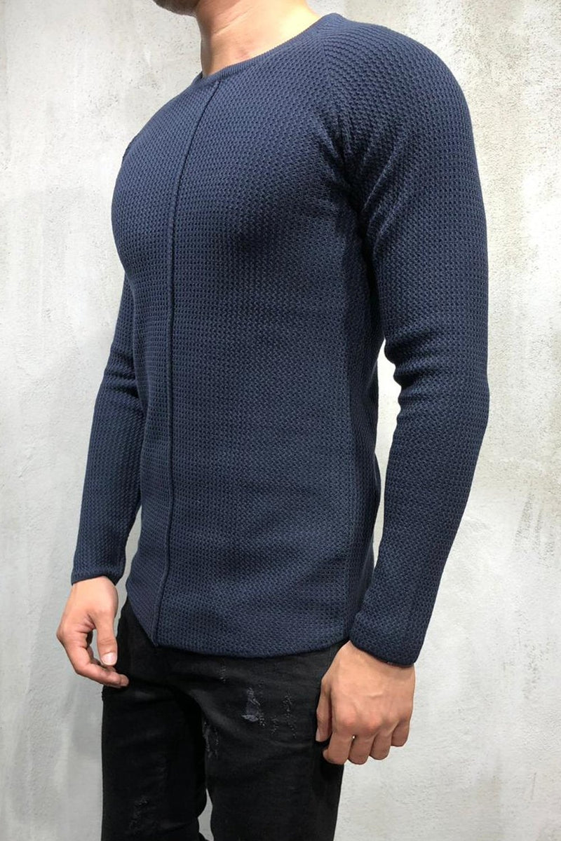 Men's Knit Sweater Pullover Navy 7006