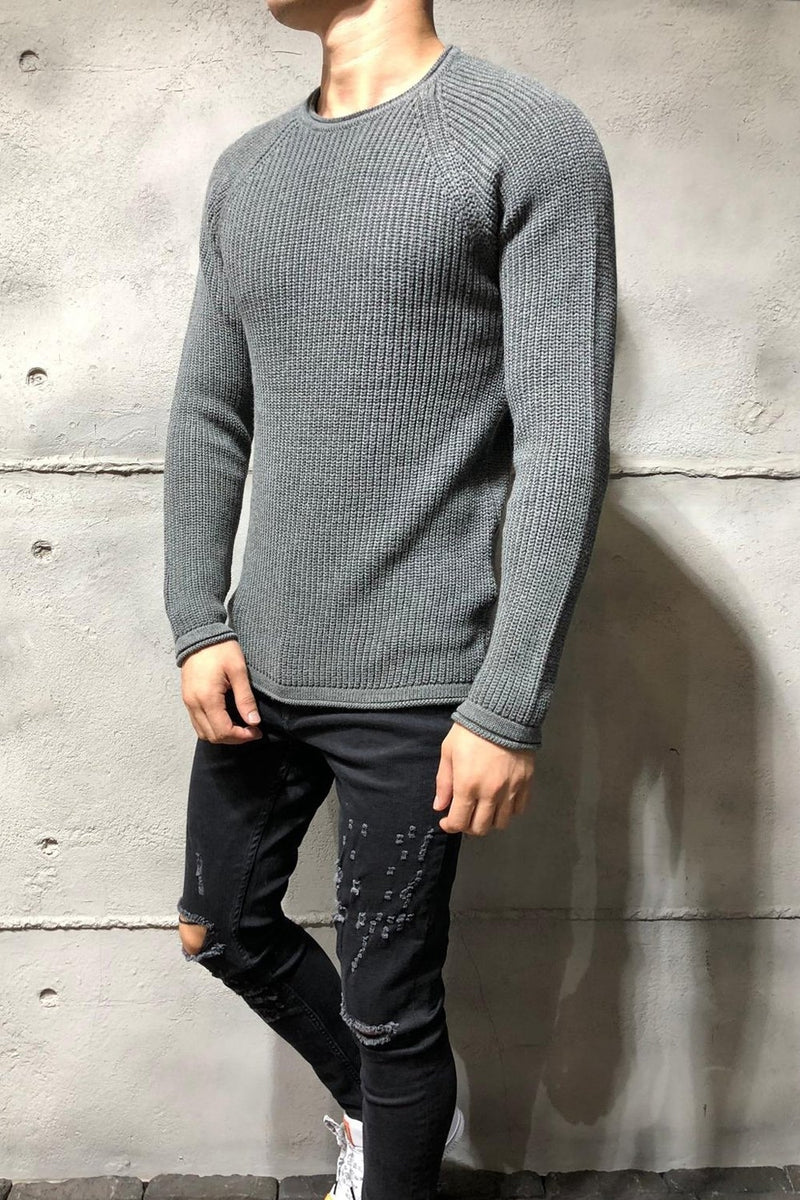 Men's Knit Sweater Pullover Darkgrey 7019