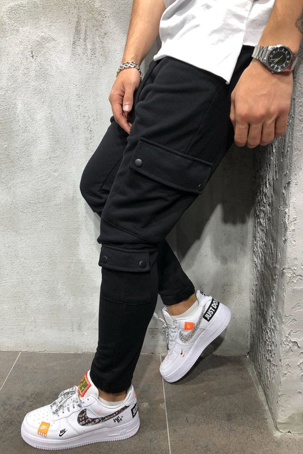 Men's Cargo Track Pants Sweatpants Black 5062