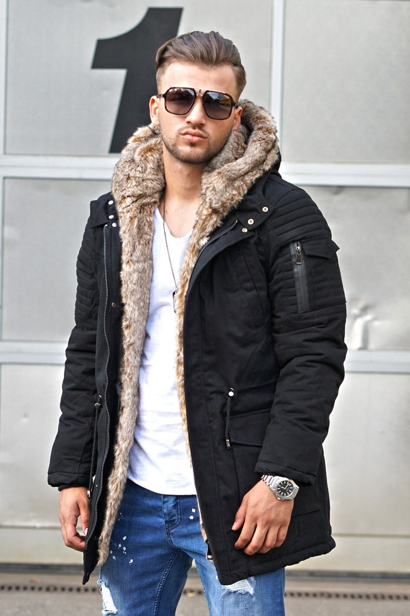 Men's Winter Parka Jacket Black 7109