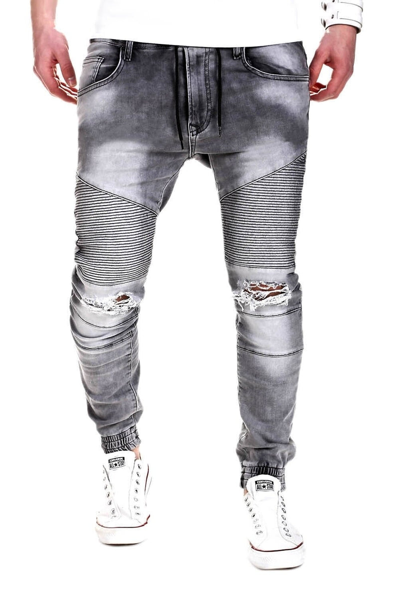 Men's Denim Biker Jeans Destroyed Grey 2082