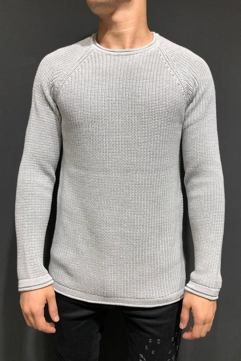 Men's Knit Sweater Pullover Grey 7019