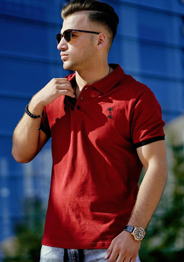 Men's Polo T-Shirt Red/Black 337