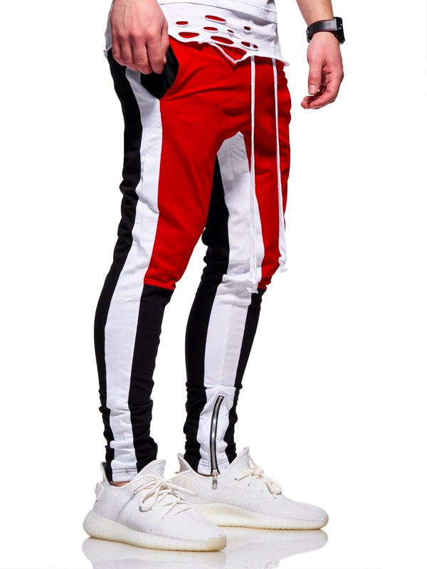 Men's Track Pants Sweatpants in Contrasting Colors Red 5049