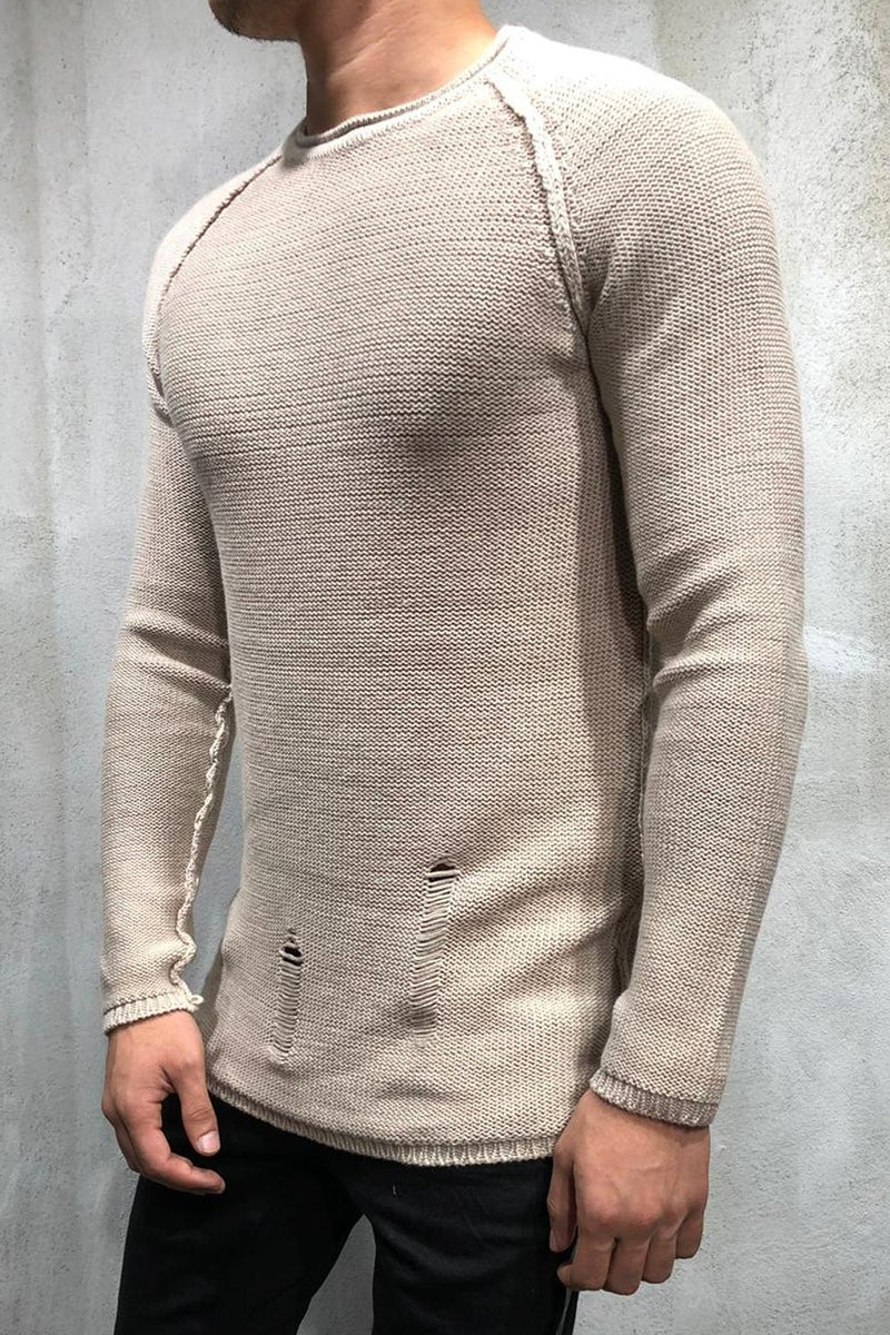 Men's Knit Sweater Pullover Destroyed Beige 7026