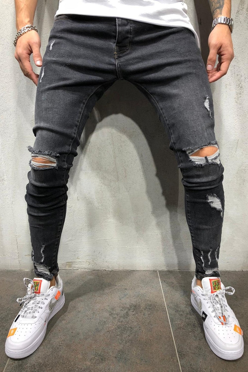Men's Denim Jeans Destroyed Skinny Fit Black 4179