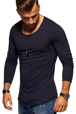Men's Oversize Longsleeves Muscle Tee Crewneck Navy 7315