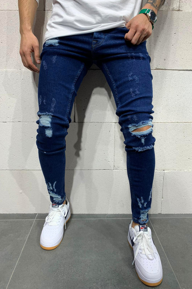 Men's Denim Destroyed Jeans Blue B4817