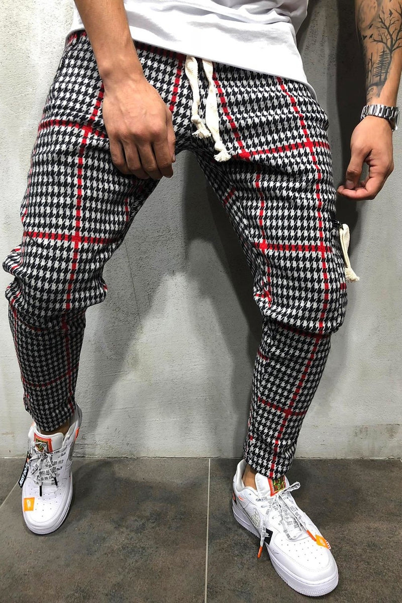 Men's Plaid Jogger Pants Black-Red 8027