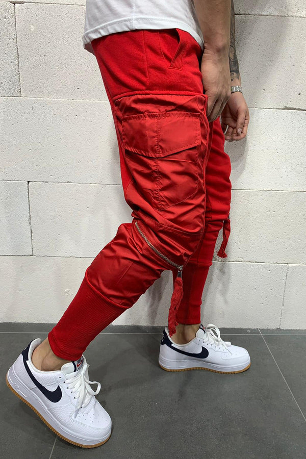 Men's Cargo Track Pants Sweatpants Red 5112