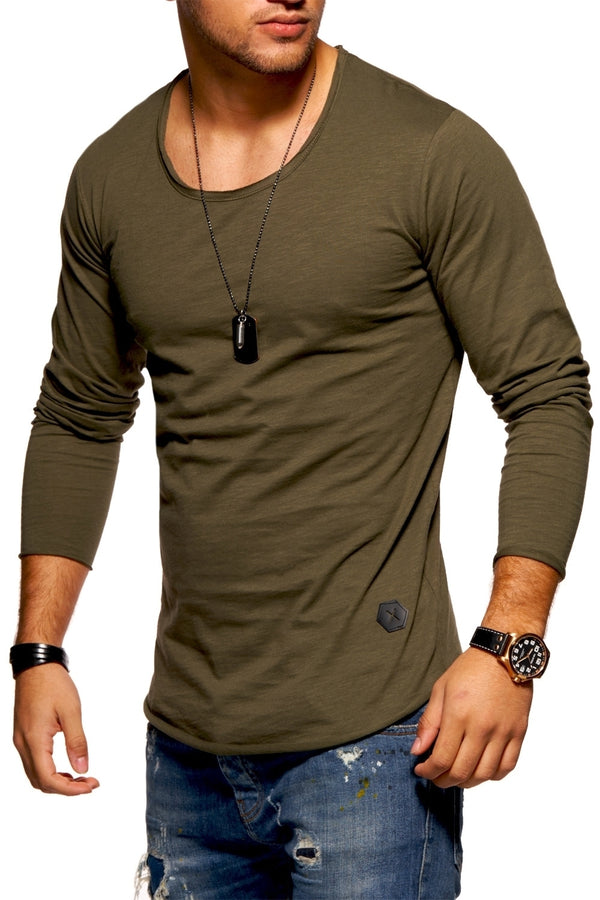 Men's Oversize Longsleeves Muscle Tee Crewneck Green/Military 7315