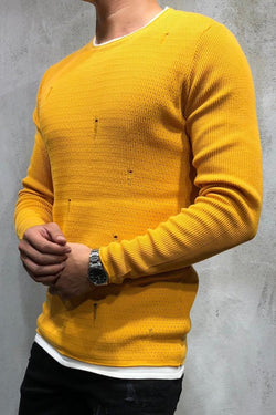 Men's Knit Sweater Pullover Destroyed Yellow 7001