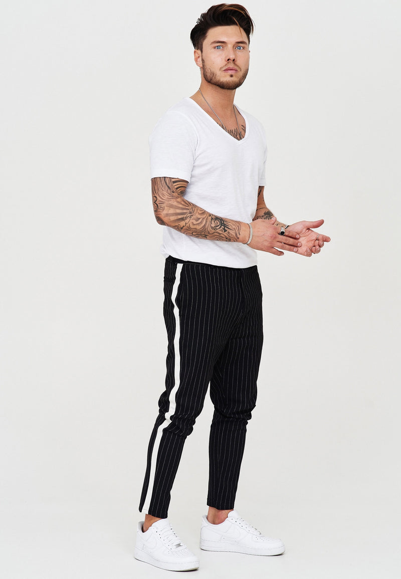 Pants Stripe Slim Fit black JN-1003