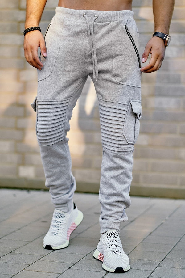 Men's Biker Cargo Track Pants Sweatpants Grey 2134