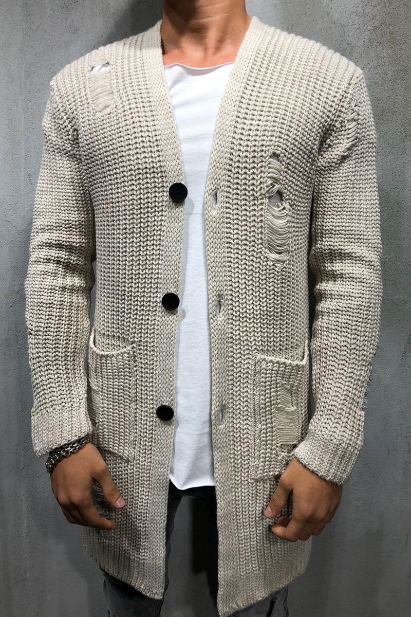 Men's Long Knit Cardigan Sweater Jacket Beige 7027