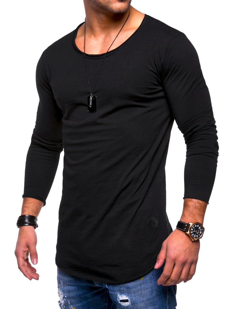 Men's Oversize Longsleeves Muscle Tee Crewneck Black 7315