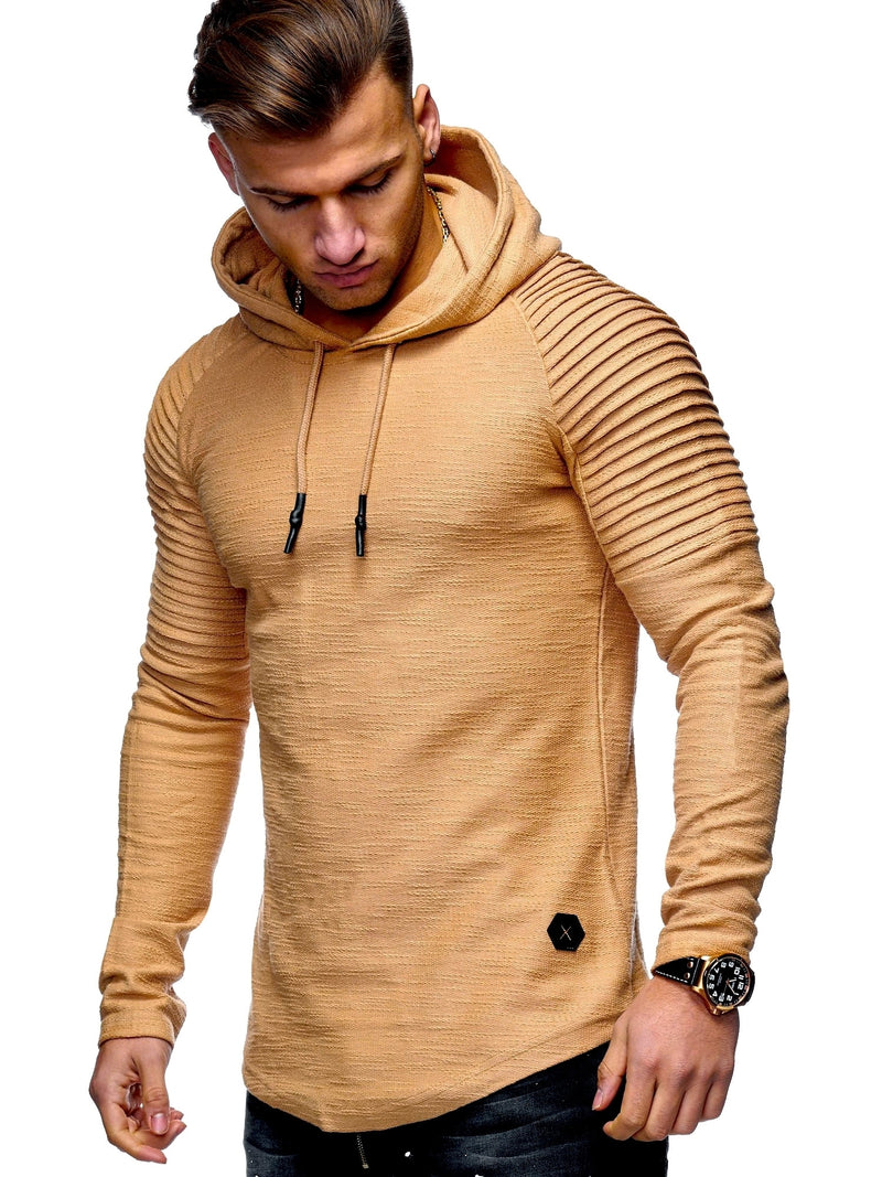 Men's Sweater Jumper Biker Hoodie Beige 7421