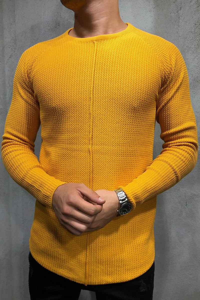 Men's Knit Sweater Pullover Yellow 7006