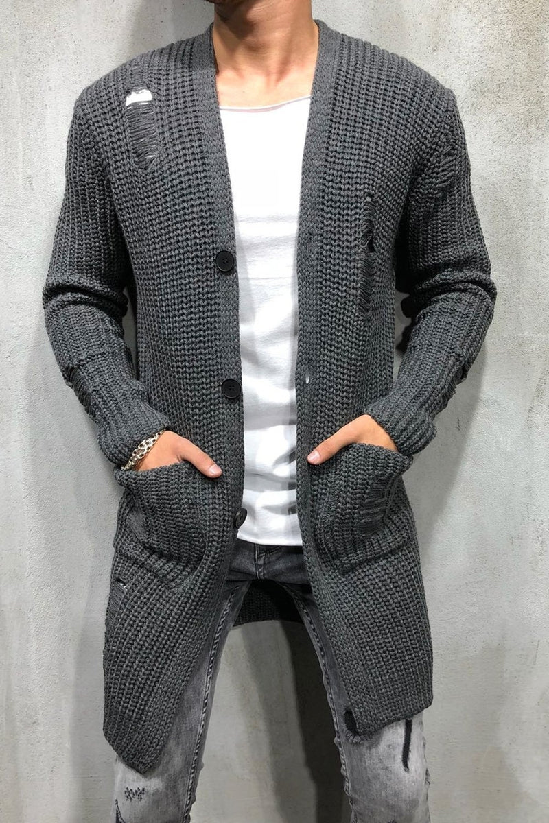 Men's Long Knit Cardigan Sweater Jacket Darkgrey 7027