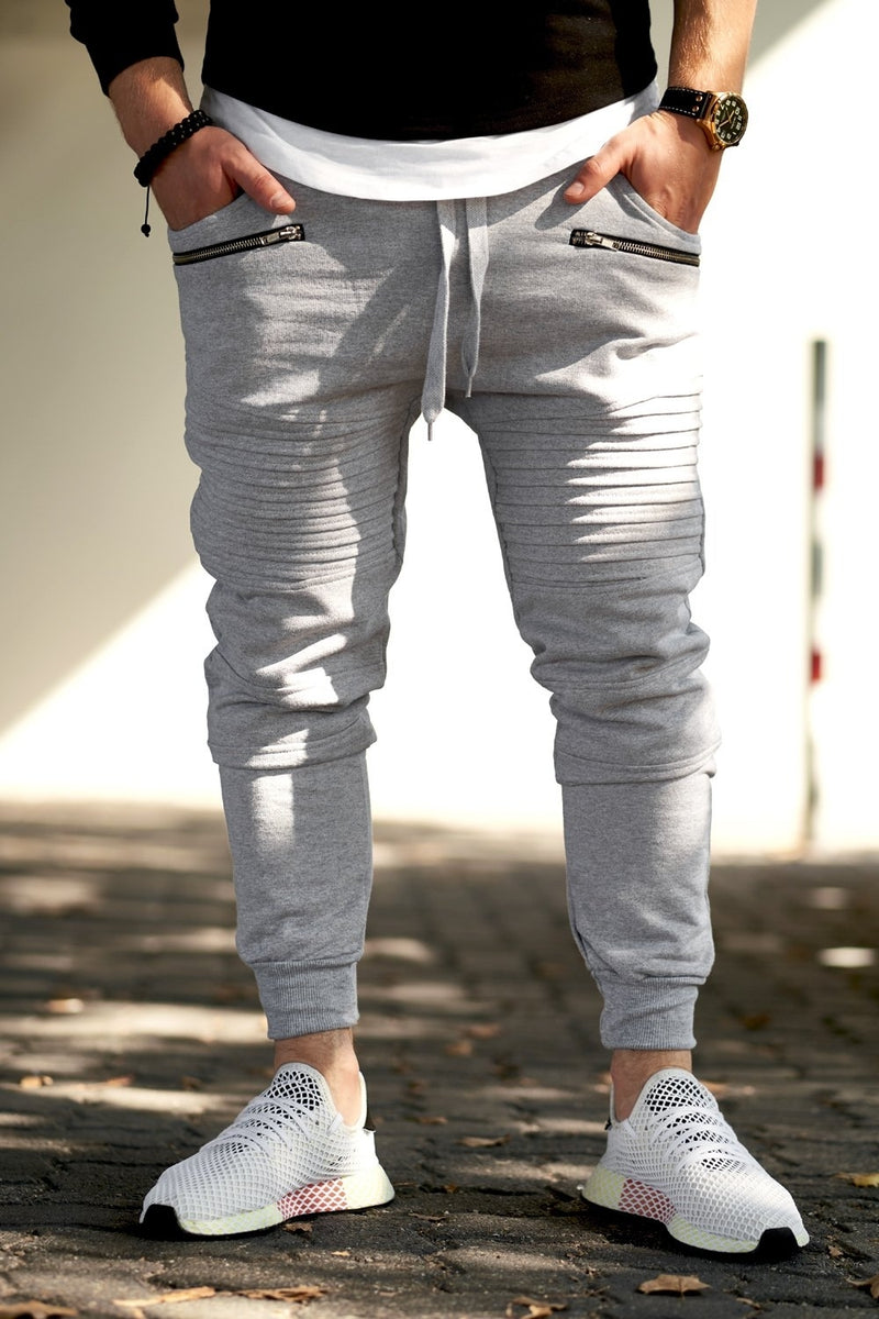 Men's Biker Track Pants Sweatpants Grey 2092