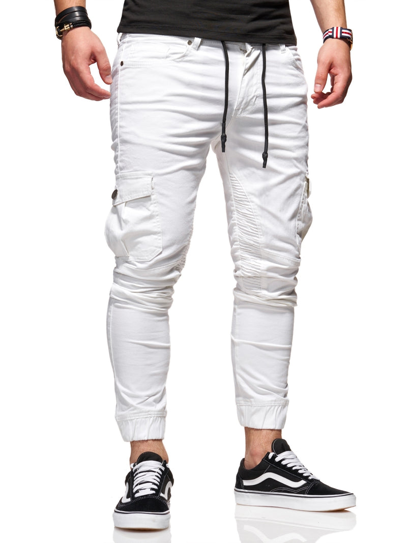 Men's Cargo Jogger Pants White 3207-S