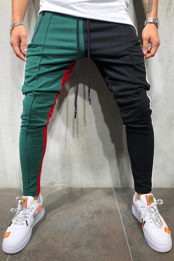 Men's Track Pants Sweatpants in Contrasting Colors Black/Green 5066