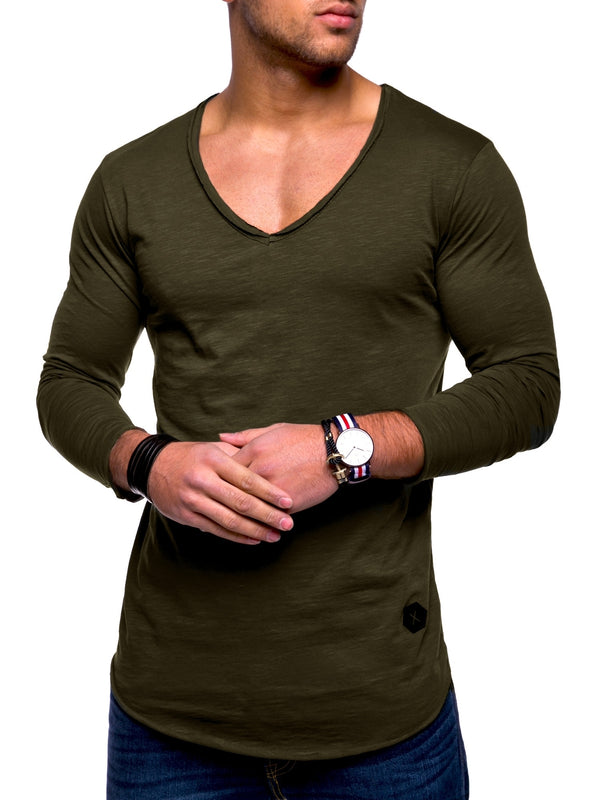 Men's Oversize Longsleeves Muscle Tee V-Neck Green/Military 7314
