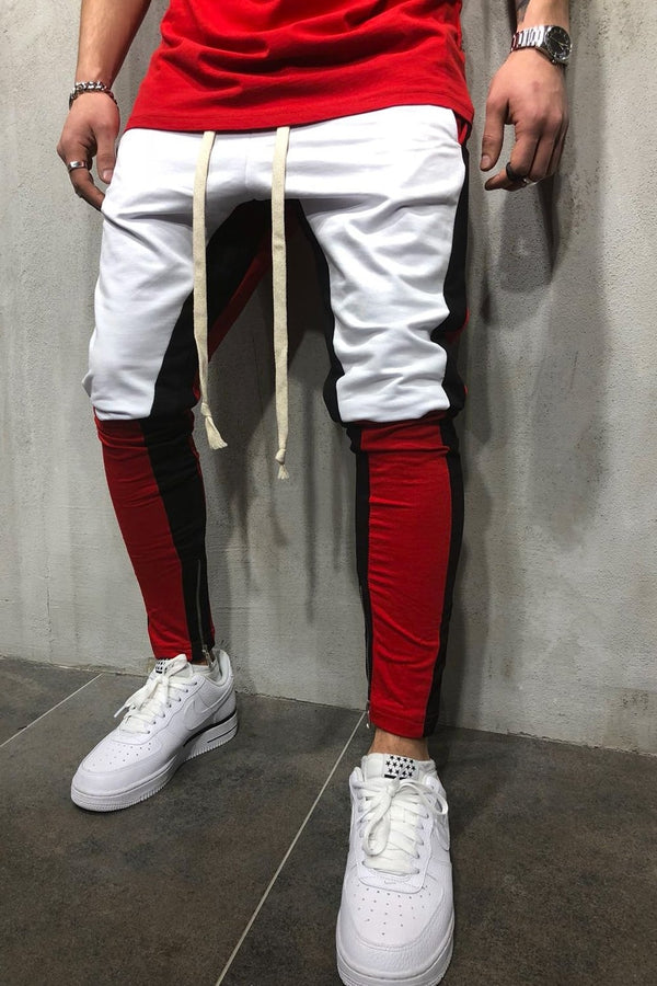 Men's Track Pants Sweatpants in Contrasting Colors White 5049
