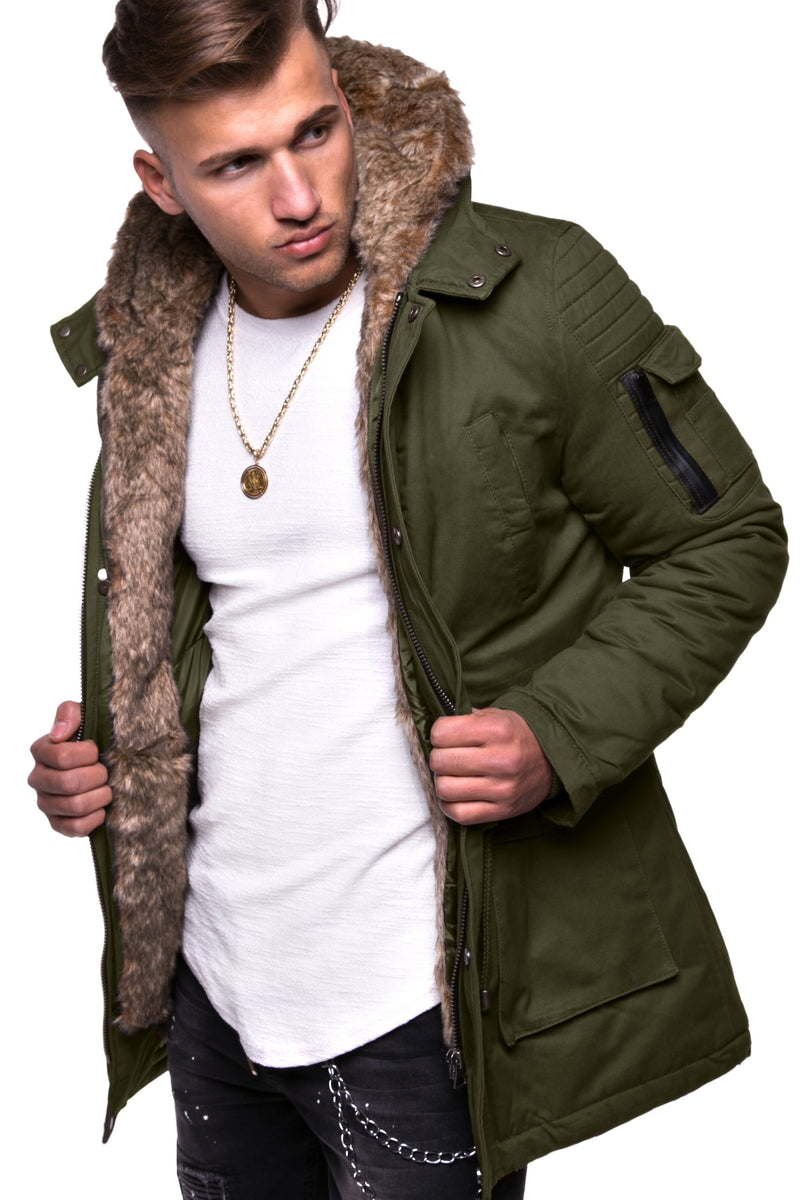 Men's Winter Parka Jacket Green/Military 7109