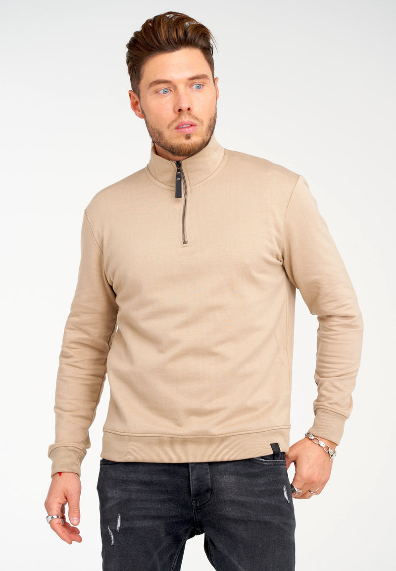 Troyer Sweater 1/4 Zip Closure Beige 21842