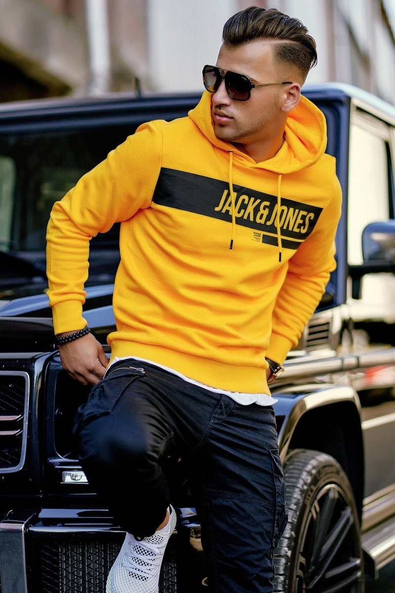Men's Jack & Jones Hoodie Yellow ARMANDO