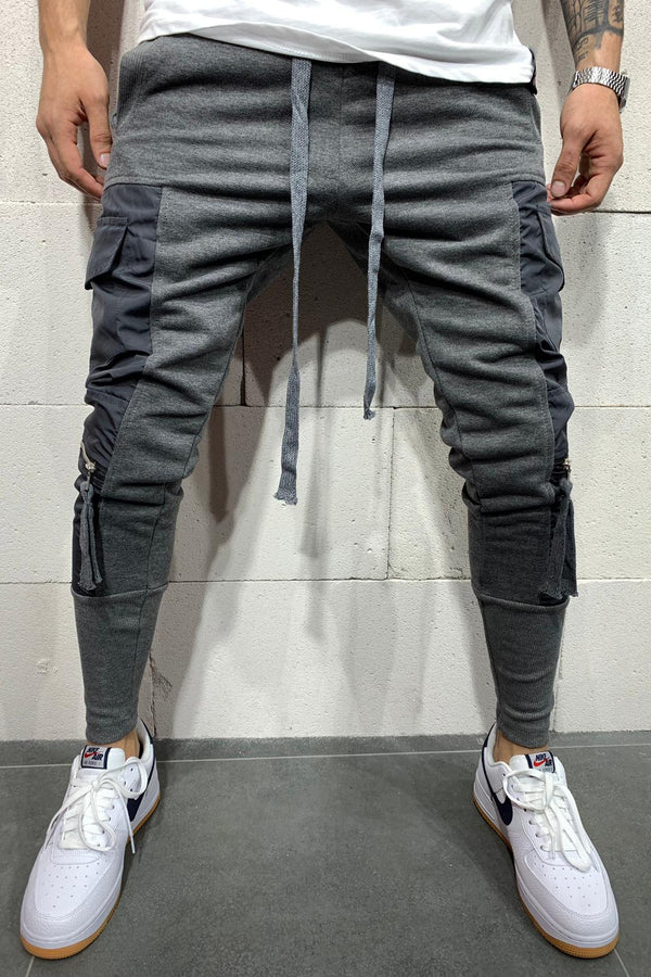 Men's Cargo Track Pants Sweatpants Grey 5112