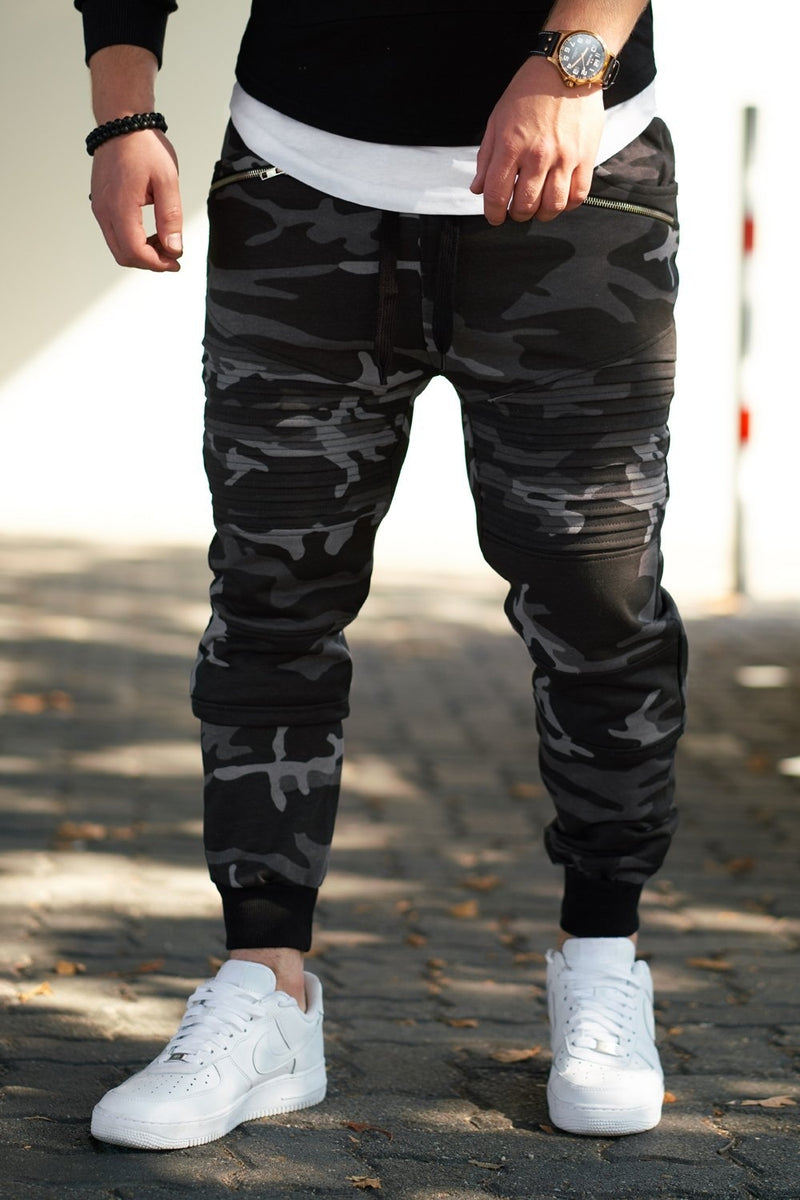 Men's Biker Track Pants Sweatpants Camo-Black 2092
