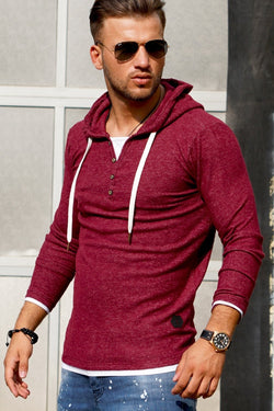 Men's 2in1 Henley Hoodie Red 7437