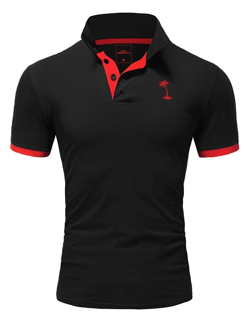 Men's Polo T-Shirt Black/Red 337