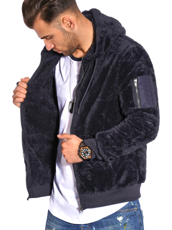Men's Teddy Fleece Jacket with Hoodie Navy 21042
