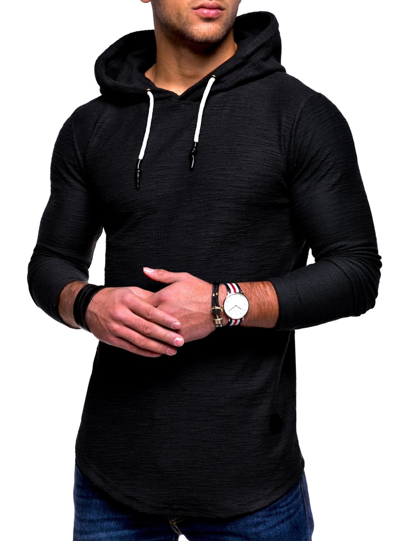 Men's Sweater Jumper Hoodie Black-White 7420