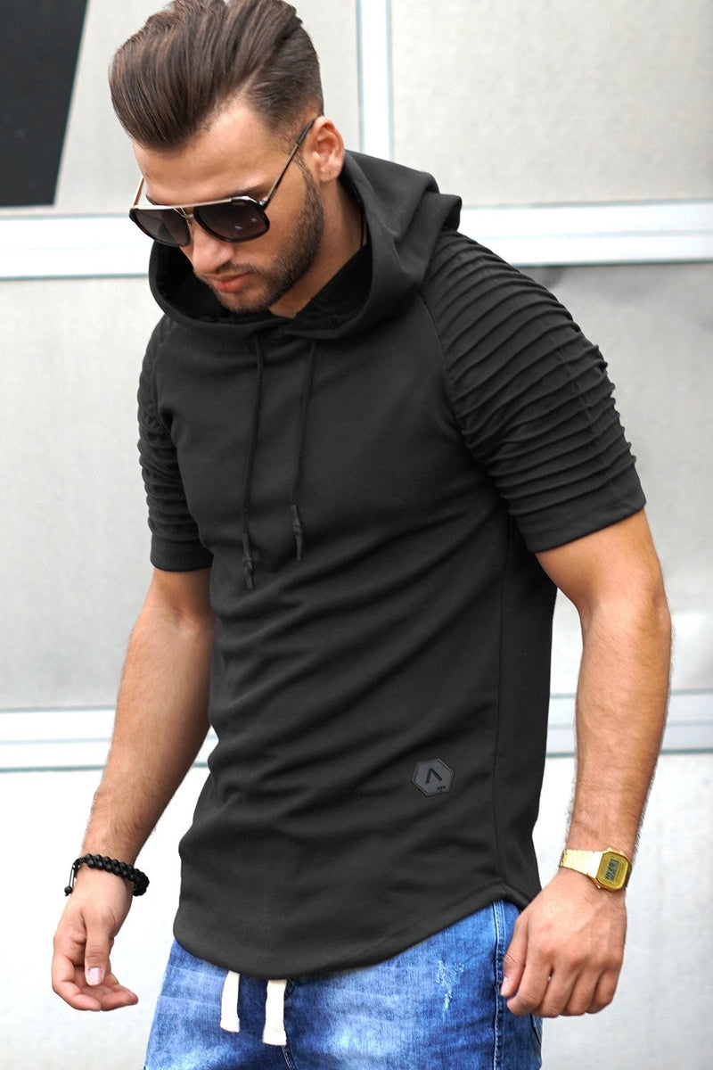 Men's 2in1 Muscle Tee Hoodie Biker Black 18