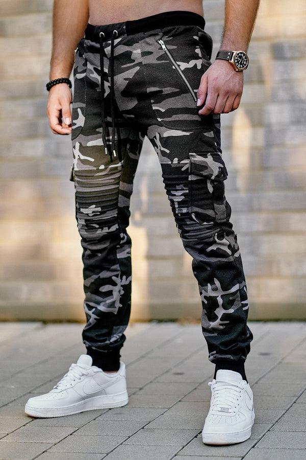 Men's Biker Cargo Track Pants Sweatpants Black-Camo 2134