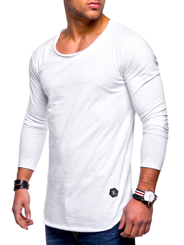 Men's Oversize Longsleeves Muscle Tee Crewneck White 7315