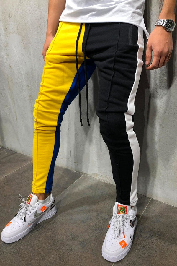 Men's Track Pants Sweatpants in Contrasting Colors Yellow/Black 5066