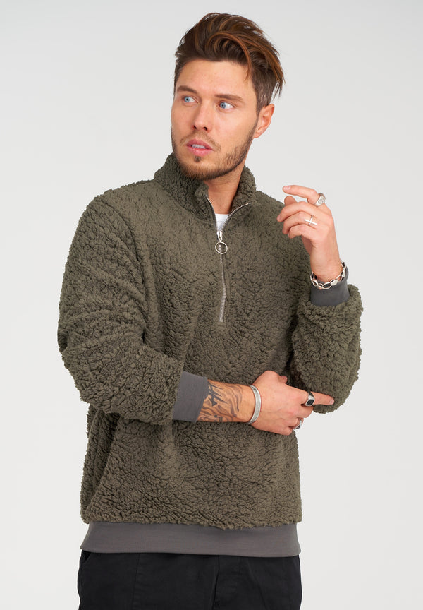 Teddy Fleece 1/4 Zip Pullover 21846 Khaki