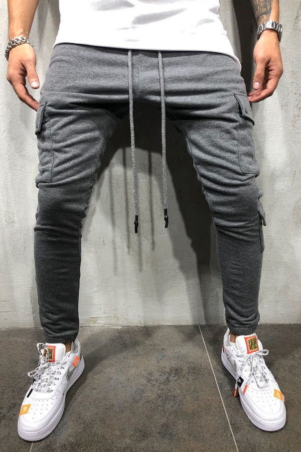 Men's Cargo Track Pants Sweatpants Darkgrey 5062