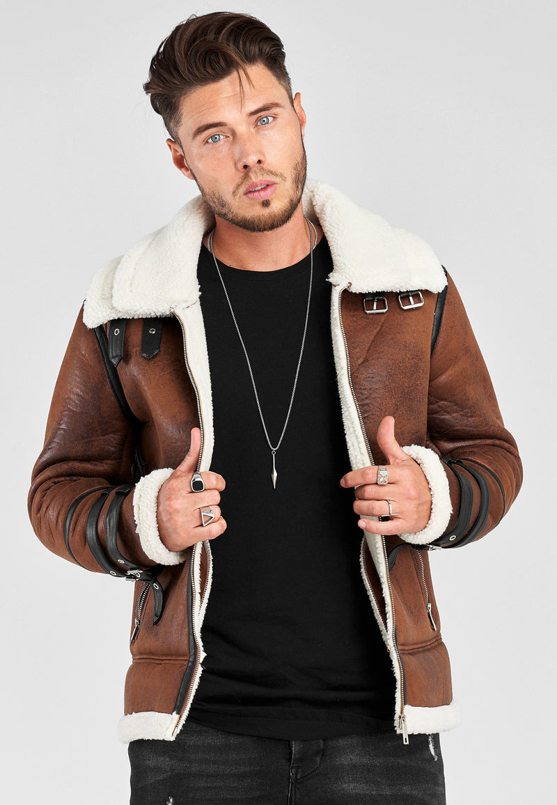 PU Jacket mit Teddy QQ-568 brown