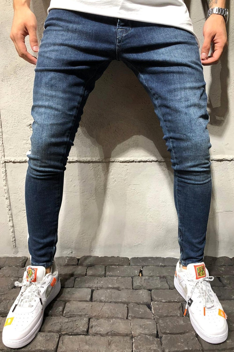 Men's Jeans with STRIPE Skinny Fit Blue 4136