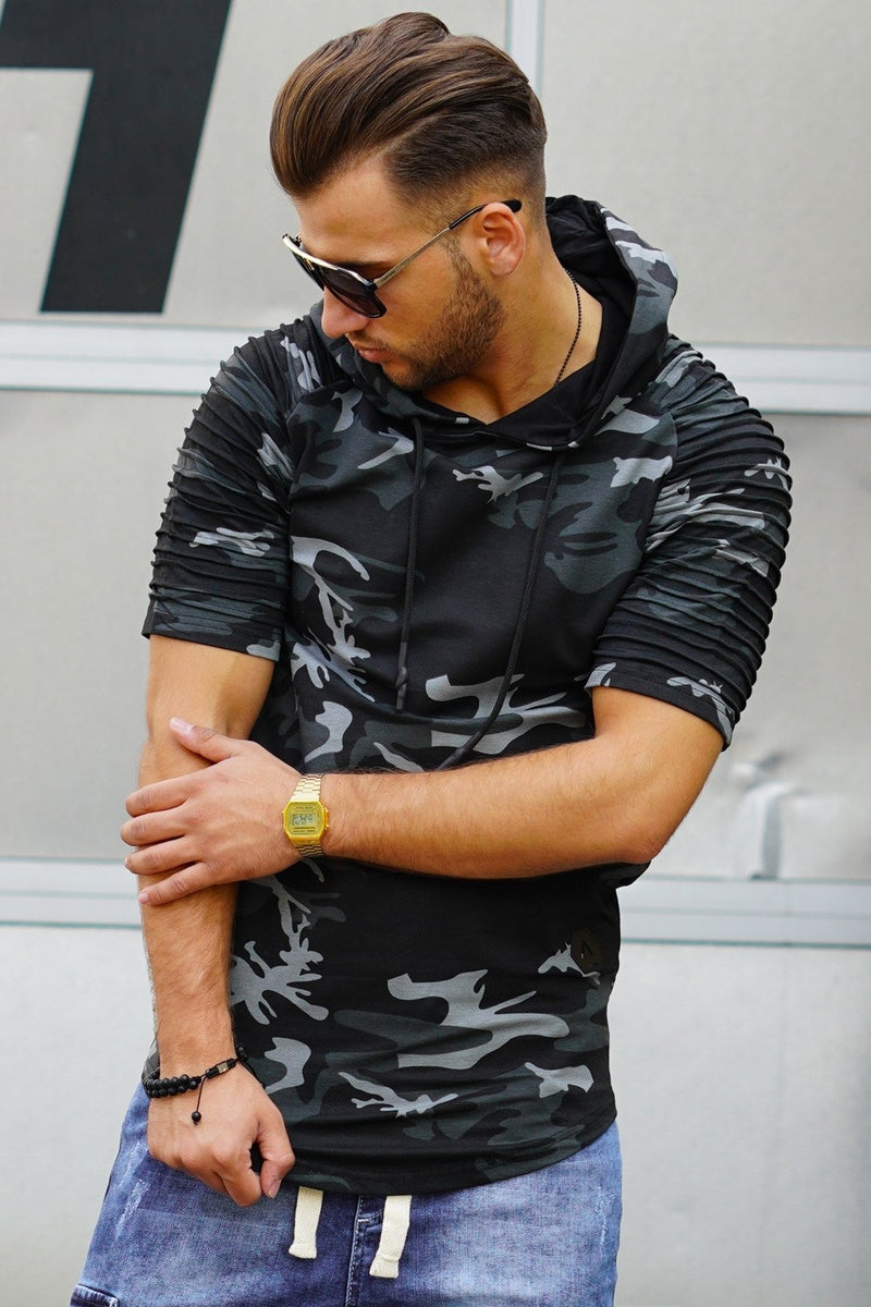 Men's 2in1 Muscle Tee Hoodie Biker Camo-Black 18