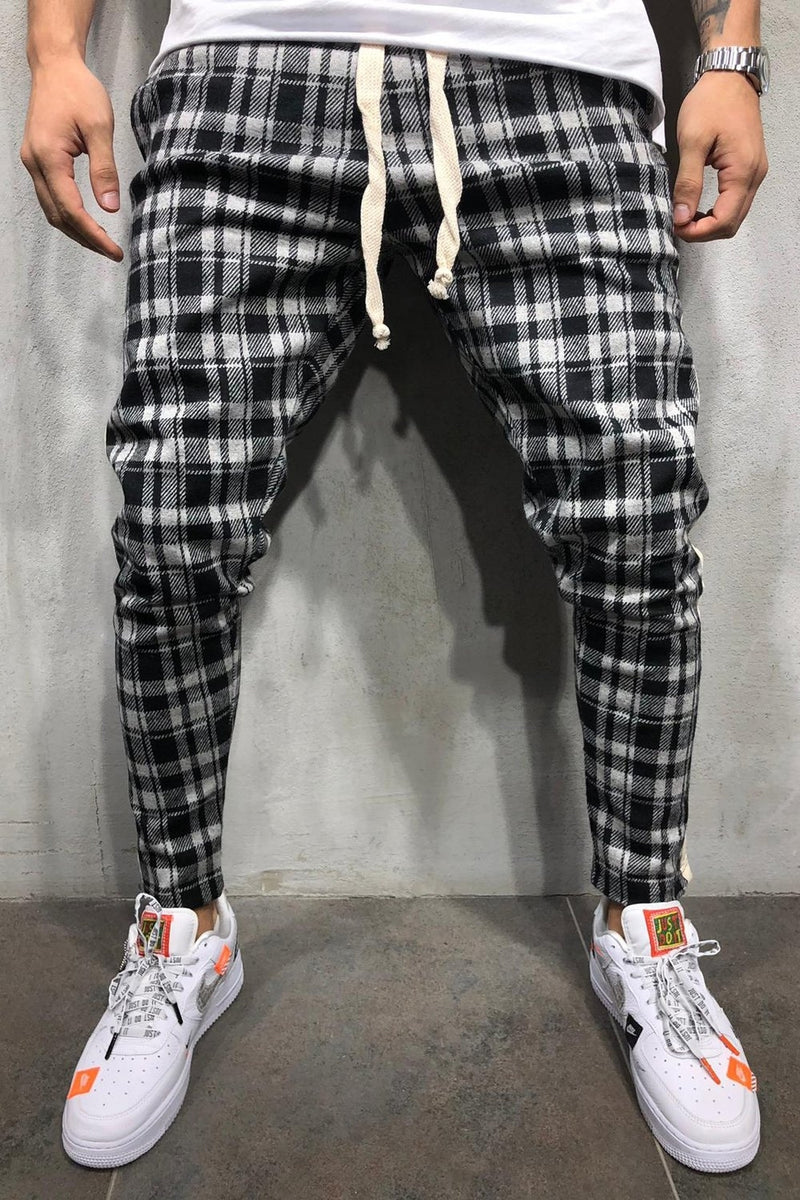 Men's Plaid Jogger Pants Black 8025
